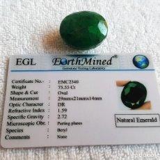 Coleccionismo de gemas: GIGANTESCA EMERALDA 75.55CT CON CERTIFICADO EGL. Lote 125124475