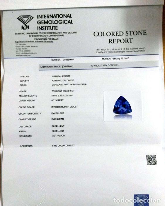 Coleccionismo de gemas: TanzaniTa 072.CT - Certificado IGI - VIOLETA AZULADO INTENSO Trillón de corte 5.93 x 5.89 x 3.30 mm. - Foto 7 - 139737258