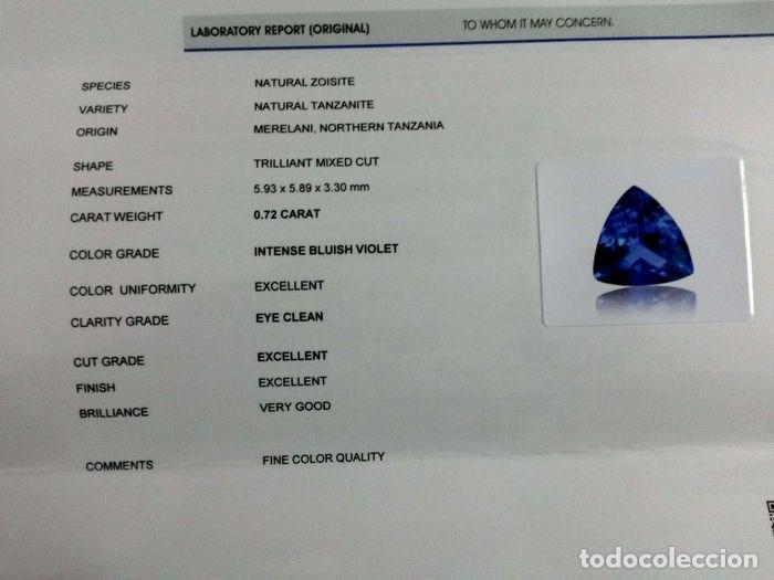 Coleccionismo de gemas: TanzaniTa 072.CT - Certificado IGI - VIOLETA AZULADO INTENSO Trillón de corte 5.93 x 5.89 x 3.30 mm. - Foto 8 - 139737258