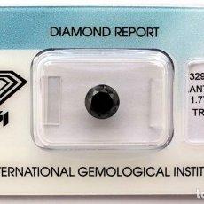 Coleccionismo de gemas: DIAMANTE NATURAL NEGRO 1.77.CT CON CERTIFICADO IGI TALLA BRILLANTE - 7.01 X 7.07 X 5.29.MM. Lote 139873490