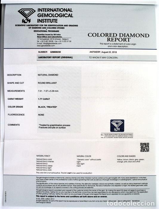 Coleccionismo de gemas: DIAMANTE NATURAL NEGRO 1.77.CT CON CERTIFICADO IGI TALLA BRILLANTE - 7.01 X 7.07 X 5.29.MM - Foto 4 - 139873490