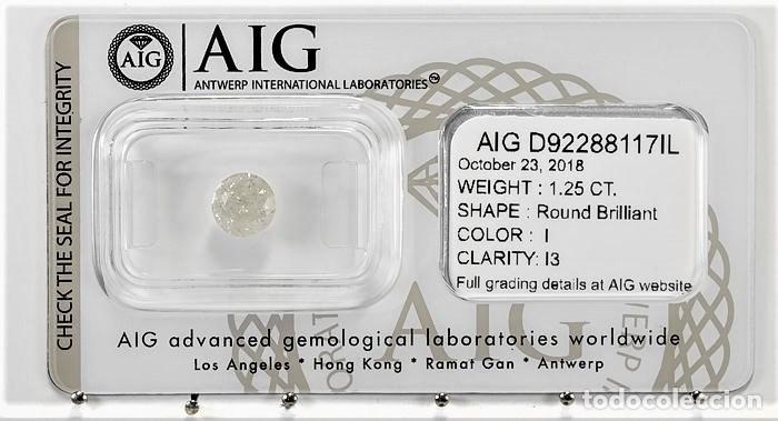 DIAMANTE NATURAL BLANCO 1.25.CT CERTIFICADO AIG COLOR 1 / 13 TALLA BRILLANTE REGISTRADO (Coleccionismo - Mineralogía - Gemas)