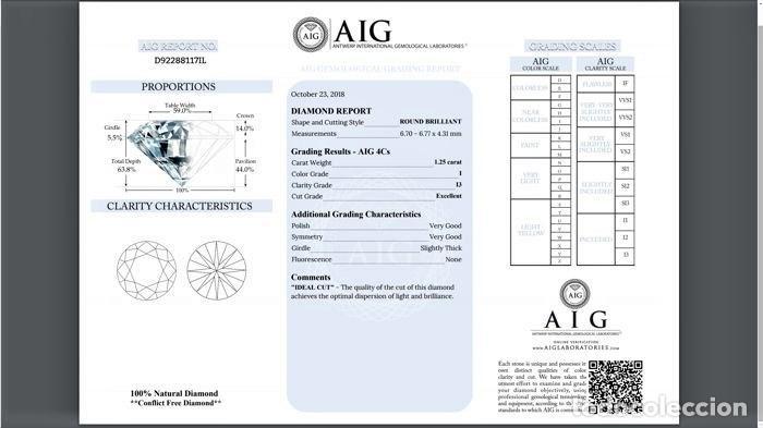 Coleccionismo de gemas: DIAMANTE NATURAL BLANCO 1.25.CT CERTIFICADO AIG COLOR 1 / 13 TALLA BRILLANTE REGISTRADO - Foto 4 - 139875566
