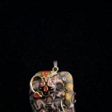Coleccionismo de gemas: COLGANTE ELEFANTE DE JASPE LEOPARDO. Lote 140270278