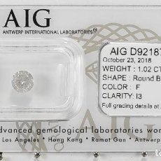 Coleccionismo de gemas: 1.02 CTS DIAMANTE NATURAL COLOR BLANCO. COLOR F, CLARIDAD I3. CERTIFICADO AIG. Lote 141533650