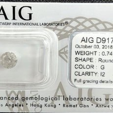 Coleccionismo de gemas: 0.81 CTS DIAMANTE NATURAL COLOR BLANCO.COLOR D, CLARIDAD SI3. CERTIFICADO IGL. Lote 141535138