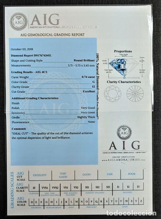 Coleccionismo de gemas: 0.81 CTS DIAMANTE NATURAL COLOR BLANCO.Color D, claridad SI3. CERTIFICADO IGL - Foto 3 - 141535138