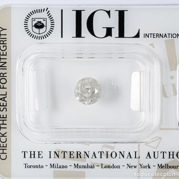 Coleccionismo de gemas: 1.04 CTS DIAMANTE NATURAL COLOR BLANCO. Color I, claridad I3. CERTIFICADO IGL - Foto 2 - 143180838