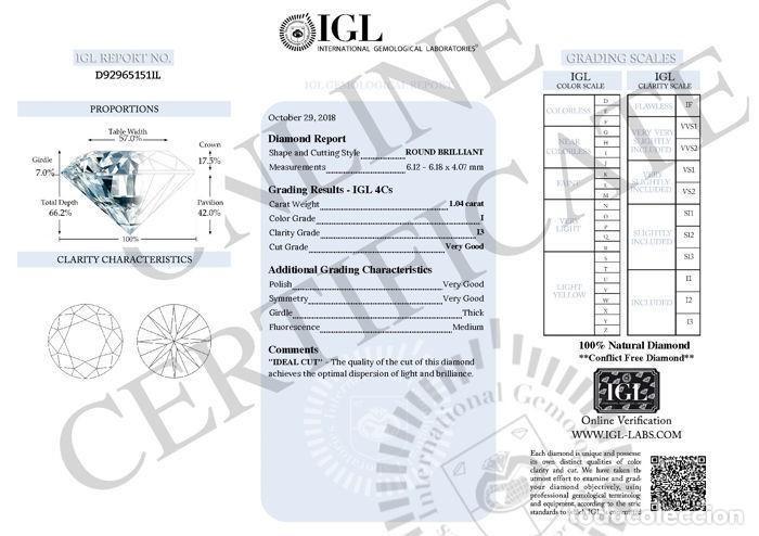 Coleccionismo de gemas: 1.04 CTS DIAMANTE NATURAL COLOR BLANCO. Color I, claridad I3. CERTIFICADO IGL - Foto 4 - 143180838