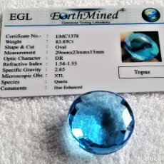 Coleccionismo de gemas: GIGANTESCO TOPACIO TOPAZ 83,85.CT OVAL + CERTIFICADO EGL - 29.MM X 23.MM X 15.MM. Lote 143886730