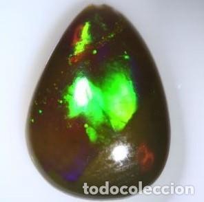 Coleccionismo de gemas: Enigmático y siempre atractivo Cabujón de Opalo Negro Natural Etiope con forma de pera de 1,215 Ct - Foto 2 - 147643122