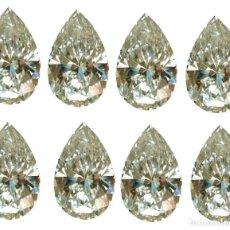 Coleccionismo de gemas: 13 DIAMANTES MOISSANITE DE 2,07 QUILATES, CLARIDAD VVS1, COLOR BLANCO APAGADO TALLA PERA. Lote 152934918
