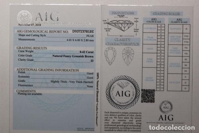 Coleccionismo de gemas: Importante diamante ( - 0.42 ct - ) certificado, talla pera y claridad grado 13. - nr. 334 - APP - Foto 5 - 158062114