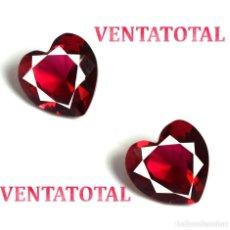 Coleccionismo de gemas: PAREJA DE RUBIS ROJO SANGRE DE PICHON CORAZON 6 KILATES MEDIDA 1,0 X 1,0 CENTIMETRO -Nº82. Lote 158554498