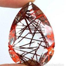 Coleccionismo de gemas: ORIGINAL CUARZO RUTILADO EN ROJO DE BRASIL CON TALLA DE PERA Y 52.25 CT. CERTIFICADO.. Lote 158912346
