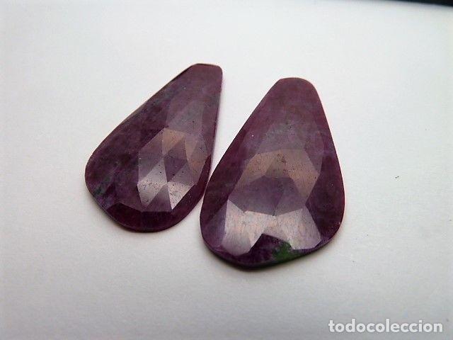 GEMA: DOS ZOISITAS VARIEDAD CON RUBÍ, 38,11 QT. (Coleccionismo - Mineralogía - Gemas)