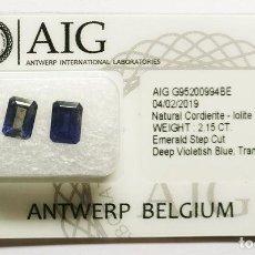 Coleccionismo de gemas: GEMAS: 2 PCS AZUL VIOLETA PROFUNDO IOLITA - 2.15 CT. Lote 158976582
