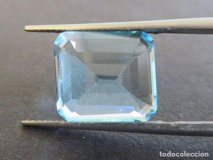 Coleccionismo de gemas: Topacio azul de gran tamaño, 11,16 ct., sin tratamientos y en corte esmeralda. - Foto 4 - 159082522