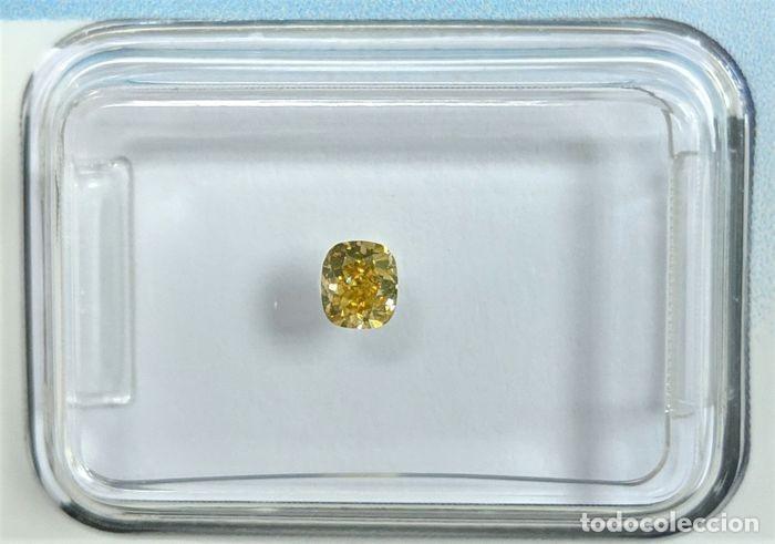 DIAMANTE- 0.20 CT - COJÍN BRILLANTE- FANCY BROWNISH YELLOW - IGI ANTWERP: SI1 - NR. 322 - APPP (Coleccionismo - Mineralogía - Gemas)