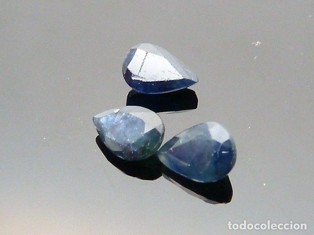 Coleccionismo de gemas: Gemas: Lote de 3 zafiros, talla en pera, total de 1,69ct. - Foto 2 - 159139186