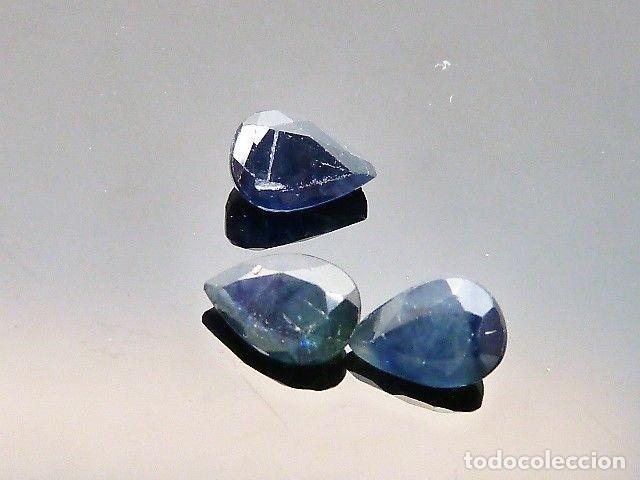 Coleccionismo de gemas: Gemas: Lote de 3 zafiros, talla en pera, total de 1,69ct. - Foto 4 - 159139186