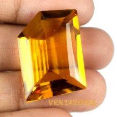 Coleccionismo de gemas: CITRINO AMARILLO DE 30,95 KILATES - CON CERTIFICADO AGSL - MEDIDA 2,5 X 1,8 CENTIMETROS - Nº17. Lote 165695930