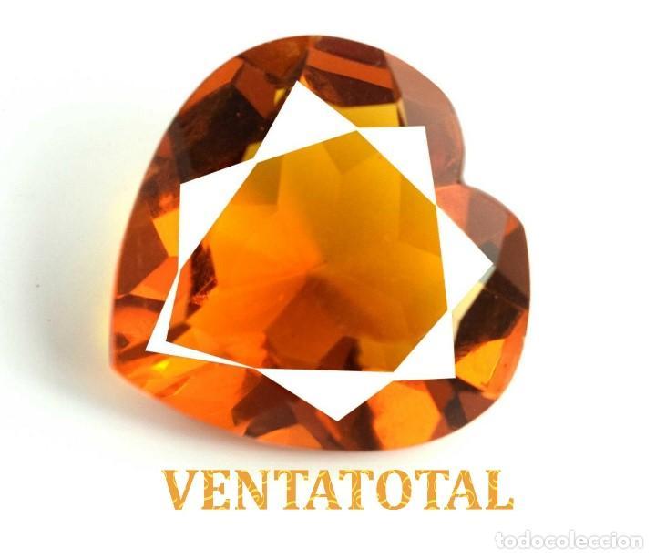 CITRINO CORAZON AMARILLO DE 51,85 KILATES - CON CERTIFICADO AGSL -MEDIDA 2,9 X 2,8 CENTIMETROS -Nº24 (Coleccionismo - Mineralogía - Gemas)