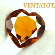 Coleccionismo de gemas - CITRINO CORAZON AMARILLO DE 50,00 KILATES - CON CERTIFICADO AGSL -MEDIDA 2,7 X 2,7 CENTIMETROS -Nº25 - 165697322