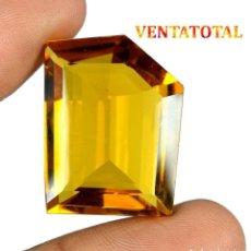 Coleccionismo de gemas: CITRINO AMARILLO DE 38,55 KILATES - CON CERTIFICADO AGSL -MEDIDA 2,6 X 2,0 CENTIMETROS -Nº36. Lote 165698670
