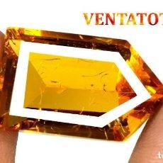 Coleccionismo de gemas: CITRINO AMARILLO DE 31,65 KILATES - CON CERTIFICADO AGSL -MEDIDA 2,6 X 1,5 CENTIMETROS -Nº37. Lote 165698754