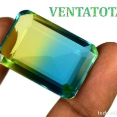 Coleccionismo de gemas: EMETRINO BICOLOR DE 57,90 KILATES CON CERTIFICADO IGL - MEDIDA 3,1 X 2,1 CENTIMETROS - Nº1. Lote 165802122