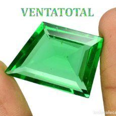 Coleccionismo de gemas: MOLDAVITA VERDE ESMERALDA DE 38,70 KILATES - CON CERTIFICADO AGSL - MIDE 2,8 X 2,0 CENTIMETROS Nº12. Lote 166731170
