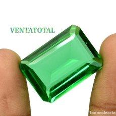 Coleccionismo de gemas: MOLDAVITA VERDE ESMERALDA DE 31,65 KILATES - CON CERTIFICADO AGSL - MIDE 2,4 X 1,7 CENTIMETROS Nº13. Lote 166731758