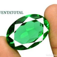 Coleccionismo de gemas: MOLDAVITA VERDE ESMERALDA DE 34,65 KILATES - CON CERTIFICADO AGSL - MIDE 2,7 X 1,9 CENTIMETROS Nº16. Lote 166732406
