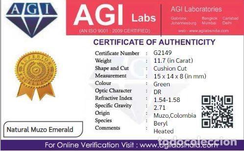 Coleccionismo de gemas: Bonita Esmeralda Colombiana Talla de Cojín ( Mina de Muzo) de 11.70 Ct.Certificada con Origen. - Foto 4 - 171463902