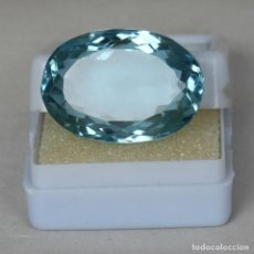 Colecionismo de pedras preciosas: AGUAMARINA NATURAL OVAL 30.25.CT + CERTIFICADO - TRASLUCIDA 20.80 X 16.30 X 11.70 (MM). Lote 238689900