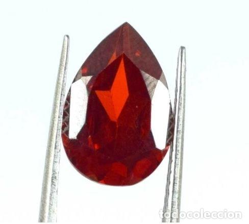 Coleccionismo de gemas: Preciosa Esfalerita de España. Natural. Naranja Rojizo .Talla de Pera con 7.35 Ct. Certificada. - Foto 2 - 173671849