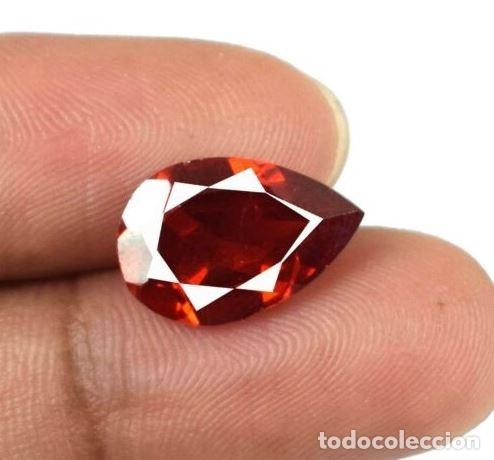 Coleccionismo de gemas: Preciosa Esfalerita de España. Natural. Naranja Rojizo .Talla de Pera con 7.35 Ct. Certificada. - Foto 3 - 173671849