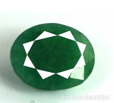 ESMERALDA NATURAL, DE MUZO COLOMBIA, DE TALLA OVAL, DE 5.20 CT. CERTIFICADA CON ORIGEN. (Coleccionismo - Mineralogía - Gemas)