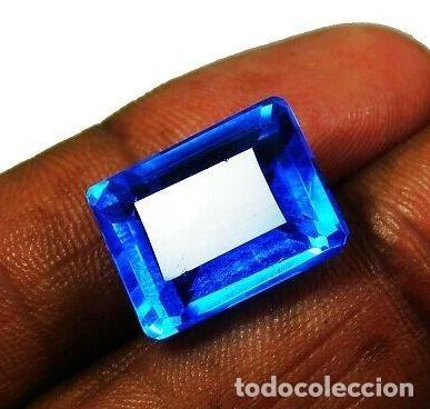 ESPECTACULAR TOPACIO NATURAL AZUL MAR DE BRASIL TALLA ESMERALDA CON 14 CT. (Coleccionismo - Mineralogía - Gemas)