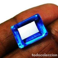 Coleccionismo de gemas: ESPECTACULAR TOPACIO NATURAL AZUL MAR DE BRASIL TALLA ESMERALDA CON 14 CT.. Lote 174467973