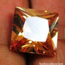 Coleccionismo de gemas: IMPRESIONANTE CIRCÓN NATURAL PRINCESA AMARILLO CHAMPAÑA DE CAMBOYA. TALLA CUADRADA CON 21.5 CT.. Lote 175286642