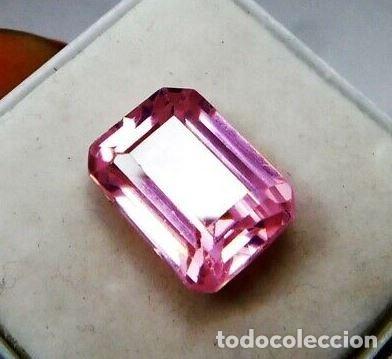 PRECIOSA KUNCITA NATURAL ROSA SIN TRATAMIENTO DE BRASIL TALLA ESMERALDA CON 9.15 CT. (Coleccionismo - Mineralogía - Gemas)
