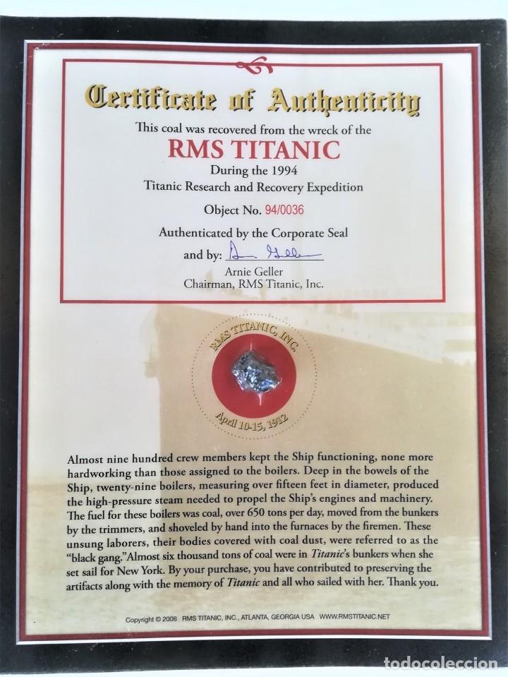Coleccionismo de gemas: TITANIC,TROZO DE CARBON DE LAS BODEGAS DEL BUQUE HUNDIDO EN 1912,ORIGINAL CON CERTIFICADO.AÑO 1994 - Foto 7 - 178221148