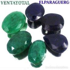 Coleccionismo de gemas: 3 ESMERALDAS DE COLOMBIA Y 3 ZAFIROS AFRICANOS TOTAL 425 KILATES MIDE UNA APROXIMADA 3 CENTIMETROS. Lote 178917428