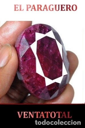 DELICIOSO RUBI ROJO SANGRE DE LA INDIA DE 380 KILATES CERTIFICADO - MEDE 4,5 X 3,3 X 2,5 CENTI-N38 (Coleccionismo - Mineralogía - Gemas)