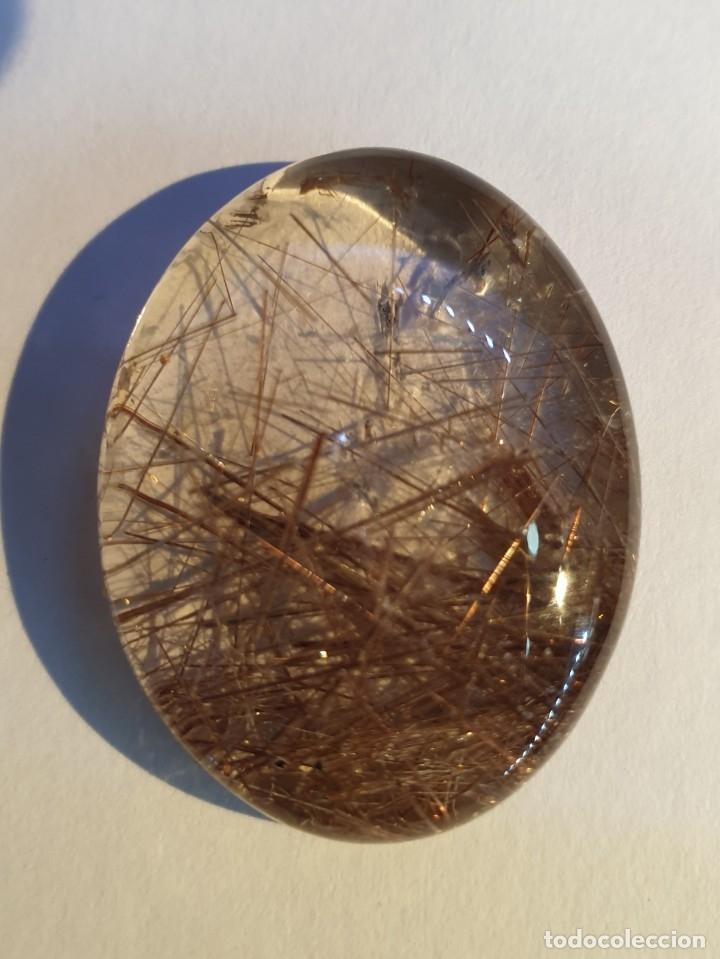 CABUJON CUARZO RUTILO ROJO DORADO (Coleccionismo - Mineralogía - Gemas)