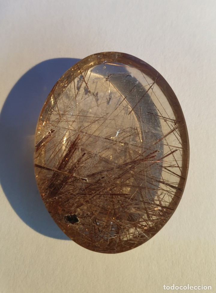 Coleccionismo de gemas: CABUJON CUARZO RUTILO ROJO DORADO - Foto 2 - 182153543