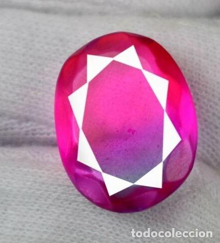 Coleccionismo de gemas: Coqueto Ametrino Bicolor Rosa Azul Oval de Brasil con 21 Ct.- Certificado AGI. - Foto 2 - 182332786