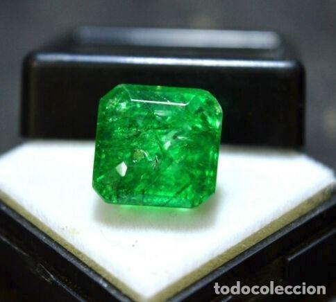 ESMERALDA DENDRÍTICA CRAQUELADA DE CRISTAL DE ROCA TALLA OCTAGONAL CON 6.85 CT (Coleccionismo - Mineralogía - Gemas)